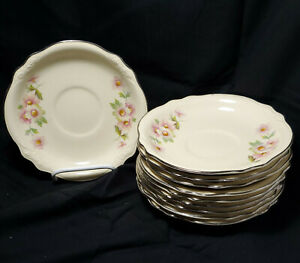 Homer Laughlin Virginia Rose Saucers~Made in USA~K59N4~ Qty 10