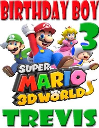 NEW SUPER MARIO 3D CUSTOM BIRTHDAY BOY SHIRT ADD NAME /& AGE FOR FAMILY PARTY