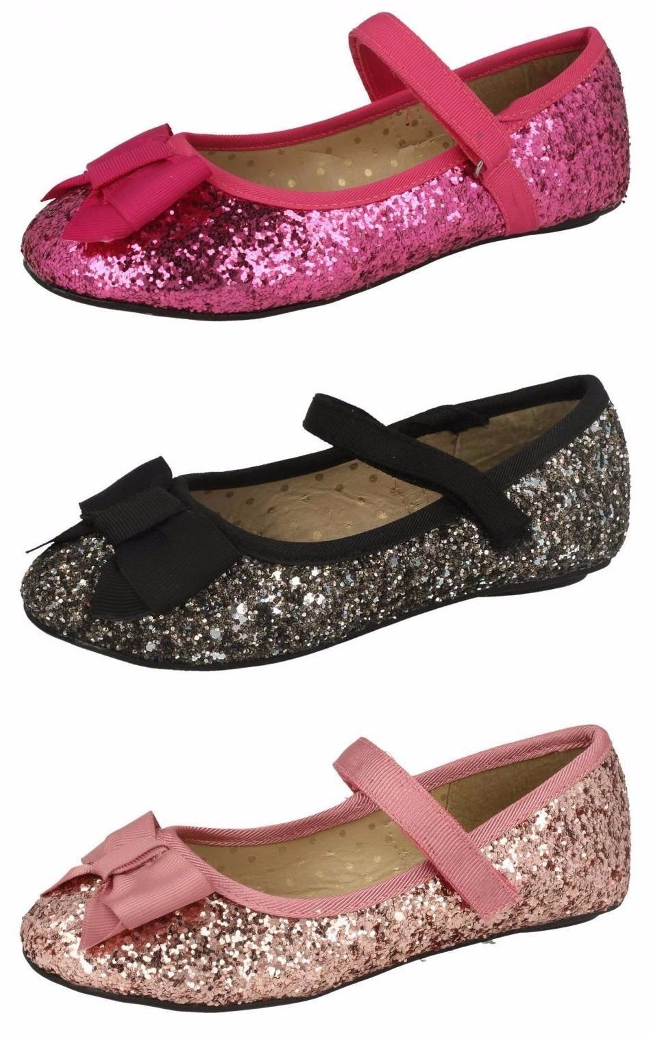 Girls Pink/&Black Spot On Party Summer Sparkly Dolly Shoes UK Sizes 10-2 H2428