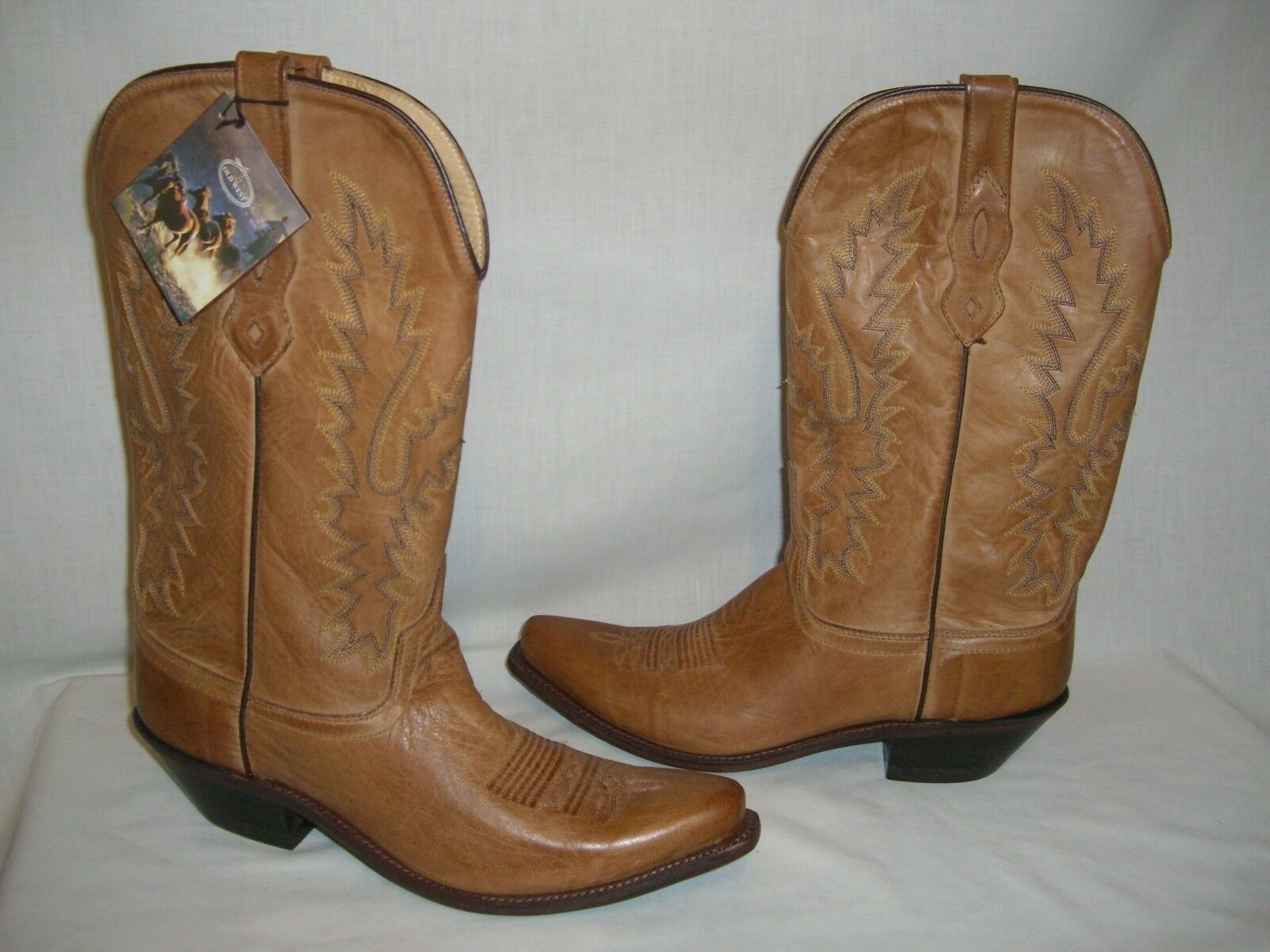 OLD WEST LF1529 Brown Leather Snip Toe Cowboy Western Boots - Wms 9.5 - NWT