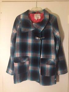 0080c9b2d BILLABONG Women s M Wool Blue Plaid Winter Pea Coat Toggle Jacket ...