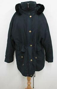 Berghaus femmes bleu marine foncé à capuche bordée de fausse fourrure Parka Veste Taille UK14