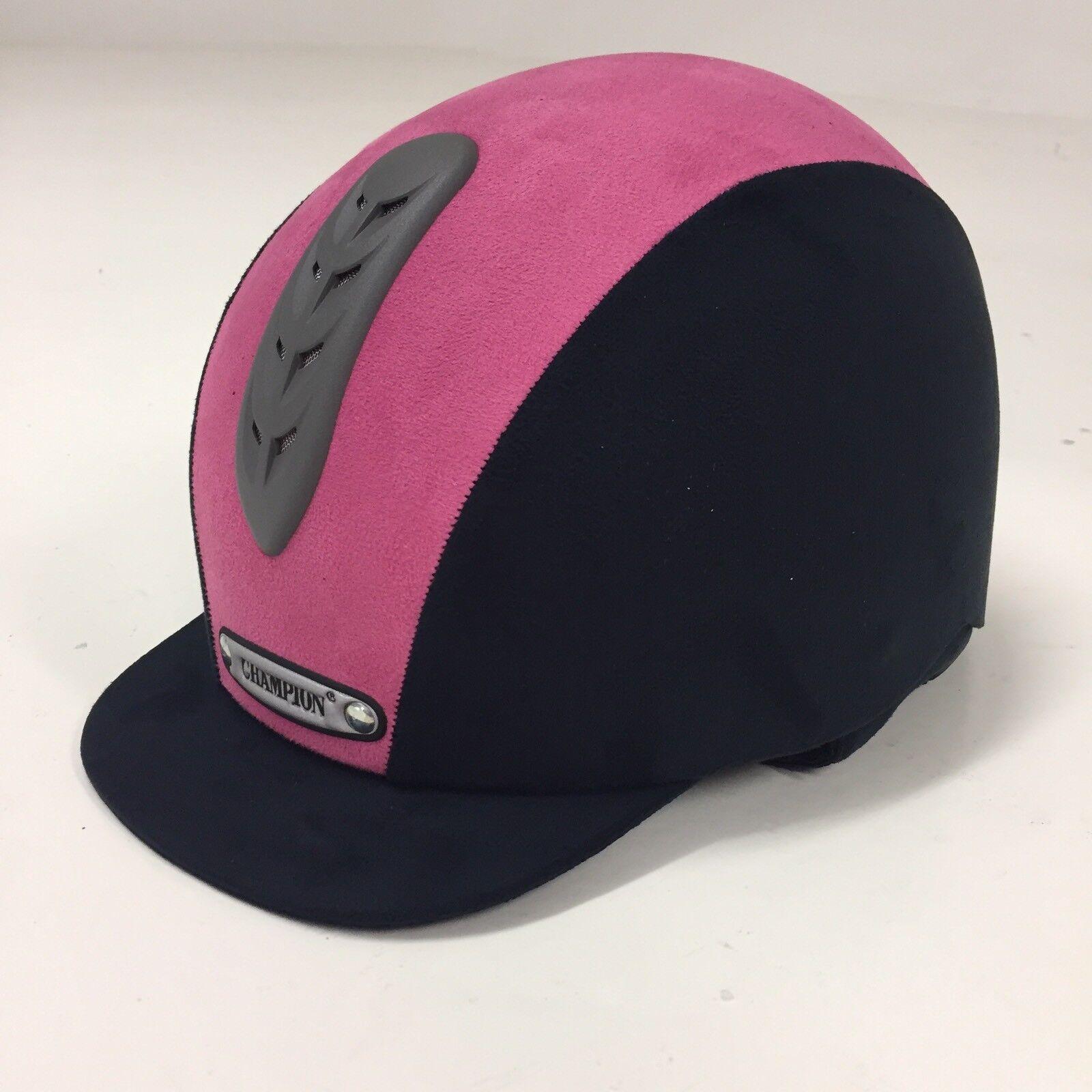 Champion Junior X-Air plus Riding Hat - Pink  Navy 53cm (6 1 2)