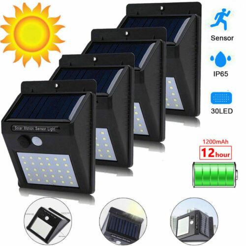 4x 30LED Solar Power Light PIR Motion Sensor Security Outdoor Garden Wall Lamp Z
