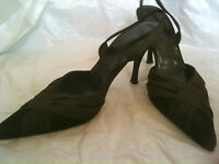 LK BENNETT Brown Suede/Satin Cocktail / Dancing Heels/Sling backs Size 3/36