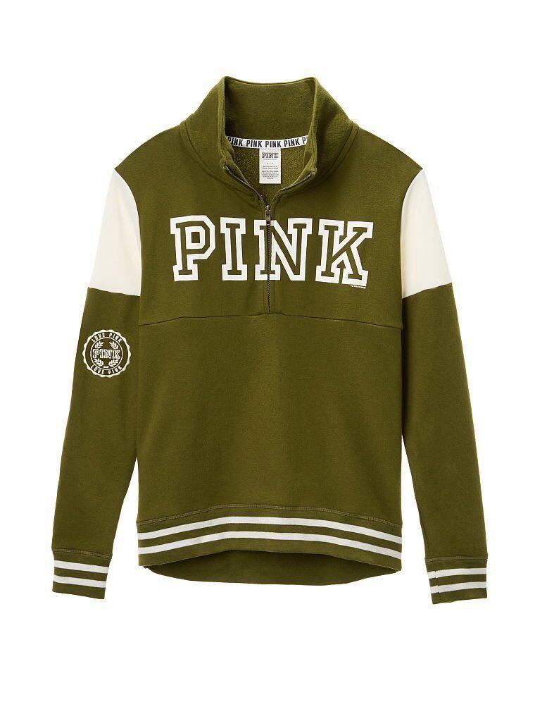Victorias Secret Pink High Low Half Zip Sweatshirt Green Caper NWT L