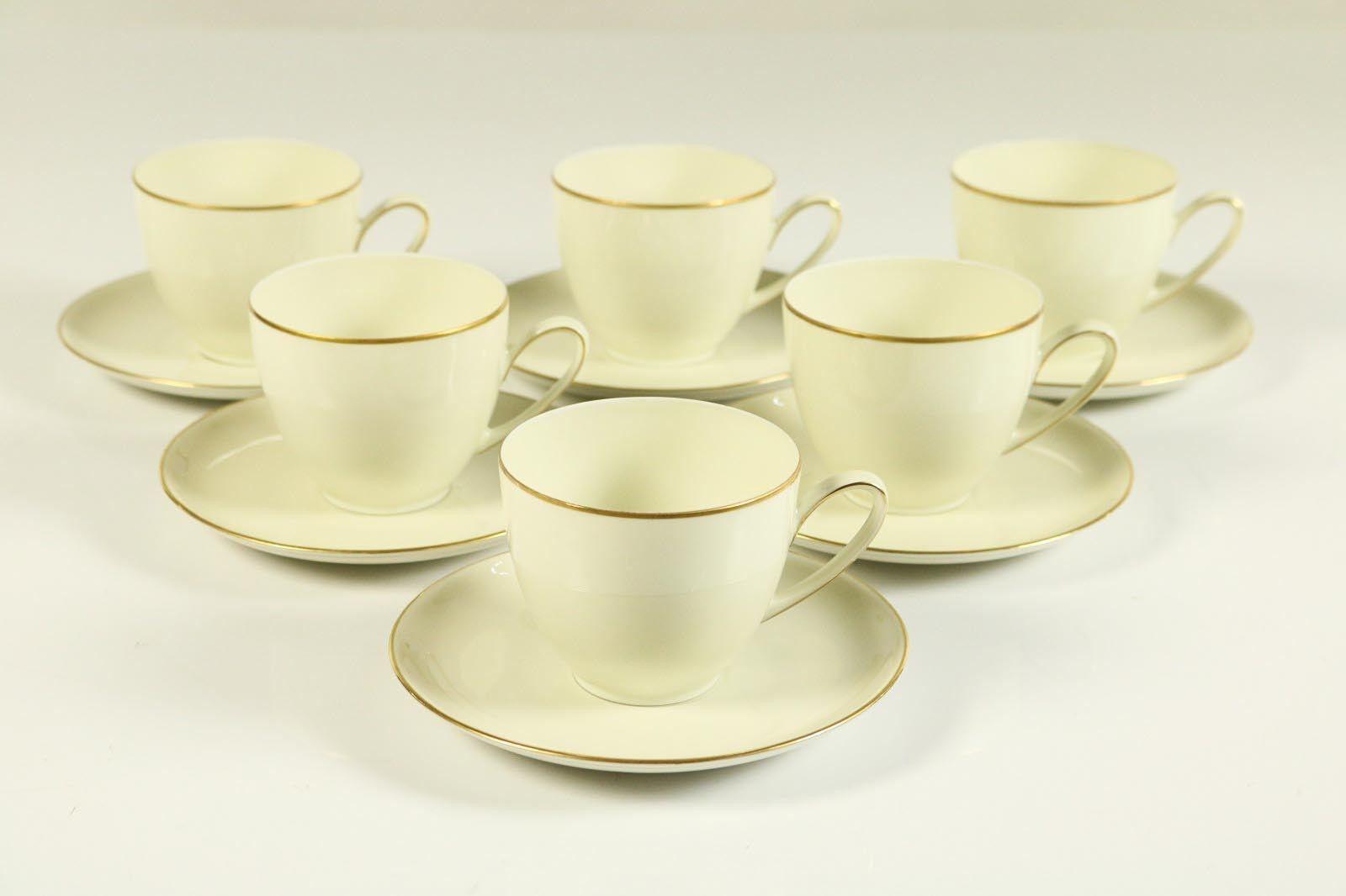 6 Café Tasses sur Untert. Hutschenreuther Olivia 63 Ivoire Couleurs monture en or
