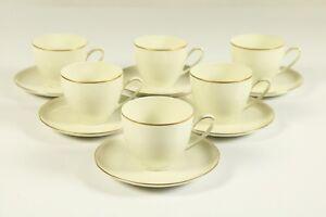 6-Kaffeetassen-auf-Untert-Hutschenreuther-Olivia-63-Elfenbeinfarben-Goldrand