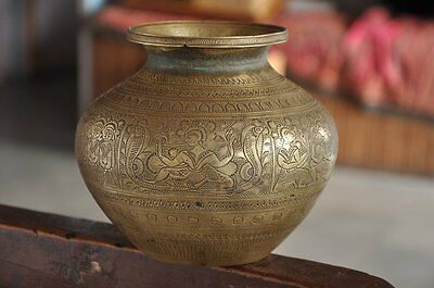 1920's Old Brass Unique Handcrafted Fine Inlay Engraved Brass Lotta / Pot