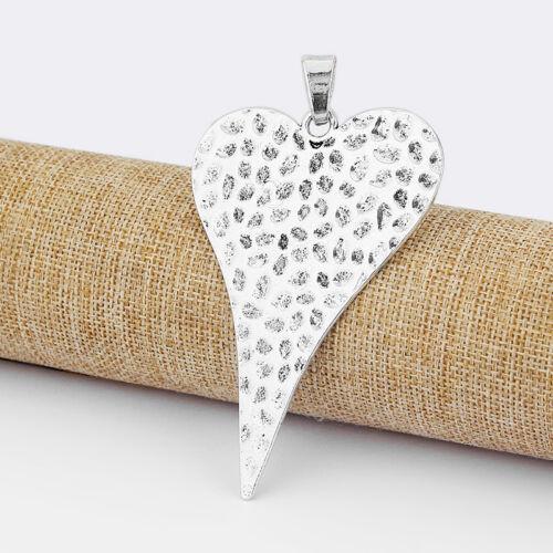 3 x Plata Tibetana Grande Abstracto Martillado Corazón Colgantes Para Joyería Collar