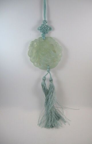 Jade Pendant Bead on Green Cord with Tassels Carved Lady Asian Design  JP5