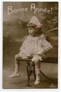 c-1909-Child-Children-CUTE-CLOWN-GIRL-kids-vintage-photo-postcard