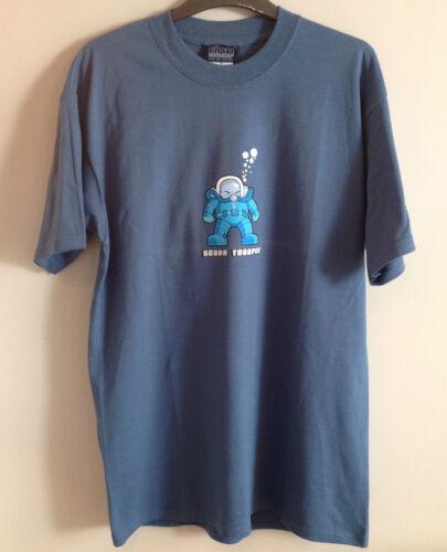 ADN plongée wear homme s//manche SCUBA TROOPER T SHIRT M-XL RRP £ 19.50 Bleu Indigo