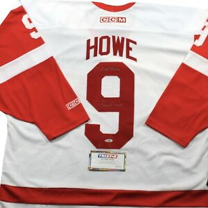 GORDIE-HOWE-Detroit-Red-Wings-CCM-Signed-JERSEY-w-COA-TRISTAR-Mr-Hockey-Rare