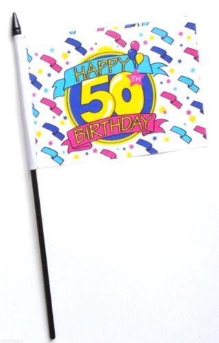 Happy 50th Birthday Small Hand Waving Flag