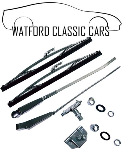Wheel Wiper Box /& Bezels Blades MGB Roadster Stainless Steel//Chrome Wiper Arms