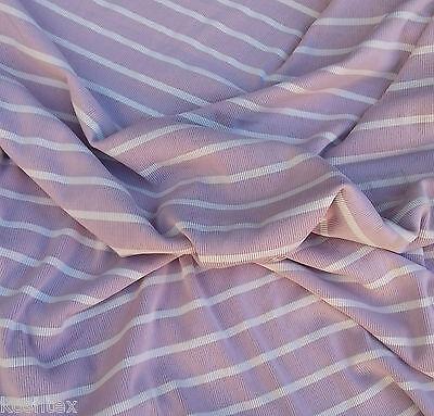 Lilac Nylon Spandex Stripe 1x1 Rib Knit Fabric by the Yard 10.5OZ