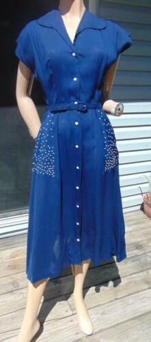 LATE 1940S PRINCESS PEGGY BLUE COTTON  DRESS WITH
