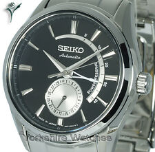 New SEIKO PRESAGE AUTO CHARCOAL BLACK FACE & STAINLESS STEEL BRACELET SSA305J1