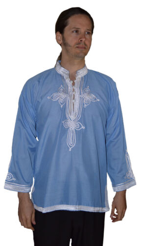 Moroccan Men Tunic Shirt Cafan Casual Handmade Embroidered Cotton MED//LG Blue