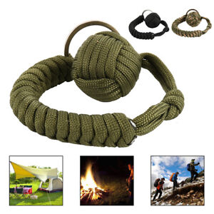 Monkey-Fist-Paracord-Keychain-Chains-Keyring-550-Military-Steels-Ball-Survival
