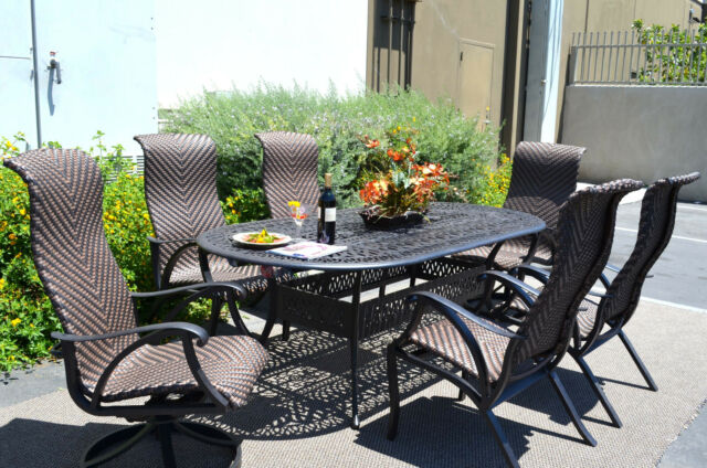 7 Piece Outdoor Dining Set Cast Aluminum Patio Furniture Venice 6 Person  Seating