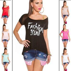 Maglia-donna-maglietta-t-shirt-stampe-scritte-maniche-corte-casual-nuova