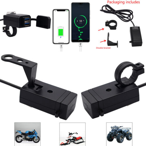 Motorrad Roller QC3.0 Dual USB-Handy-Ladegerät mit 2 Stück Bracket Wasserdicht