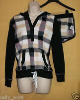 Kensie Women's 2 Pc Black Checker Gray Pajama Sleepwear Hoodie Top Shorts M $58