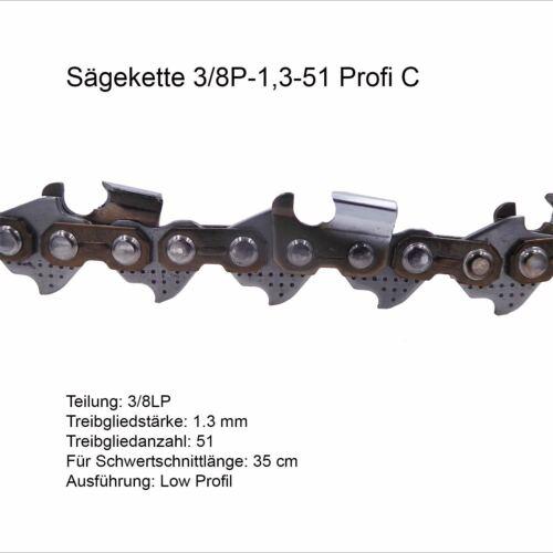 Profi C Sägekette 3//8P 1.3 mm 51 TG Low Profi Ersatzkette für Stihl Dolmar