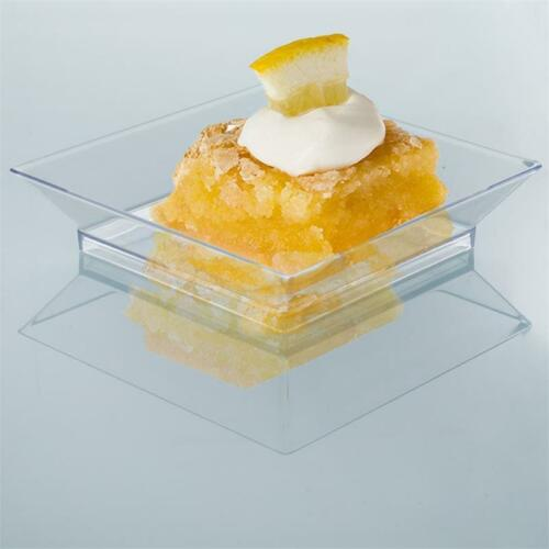 """10//pk  Clear 3.5/"""" Square Disposable Plastic Plate  Crystal wedding//cater"""