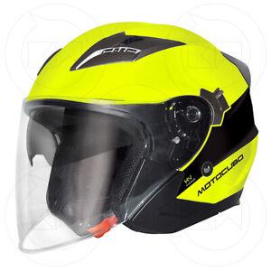 CASCO-JET-TOURER-MOTOCUBO-GIALLO-HV-NERO-DOPPIA-VISIERA-OMOLOGATO-MOTO-SCOOTER