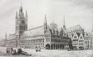 ORIGINAL-ETCHING-PRINT-Belgium-Ypres-Town-or-Cloth-Hall