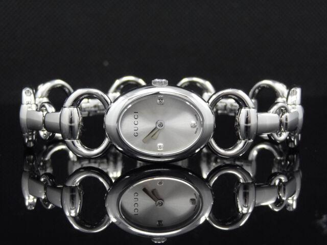 a105c484fe7 GUCCI YA118504 Tornabuoni 118 Womens Silver Tone Diamond Accented Dial Watch