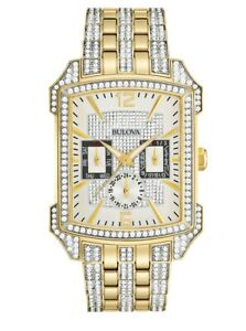 Bulova-Men-039-s-Quartz-Swarovski-Crystals-Pave-Dial-Two-Tone-35mm-Watch-98C109