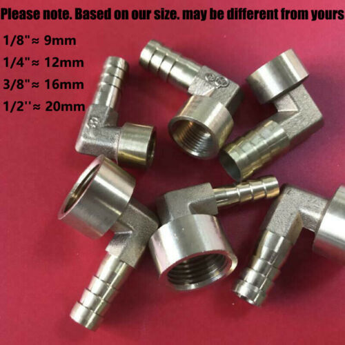 Female Brass 90° BSP Thread  Elbow x Barbed Hose Tail Pipe Fittings For Fuel Air