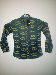 Batman-Womans-Shirt-L-Long-Sleeve-New-With-Tags-Denim-with-Pearl-Snap-Buttons