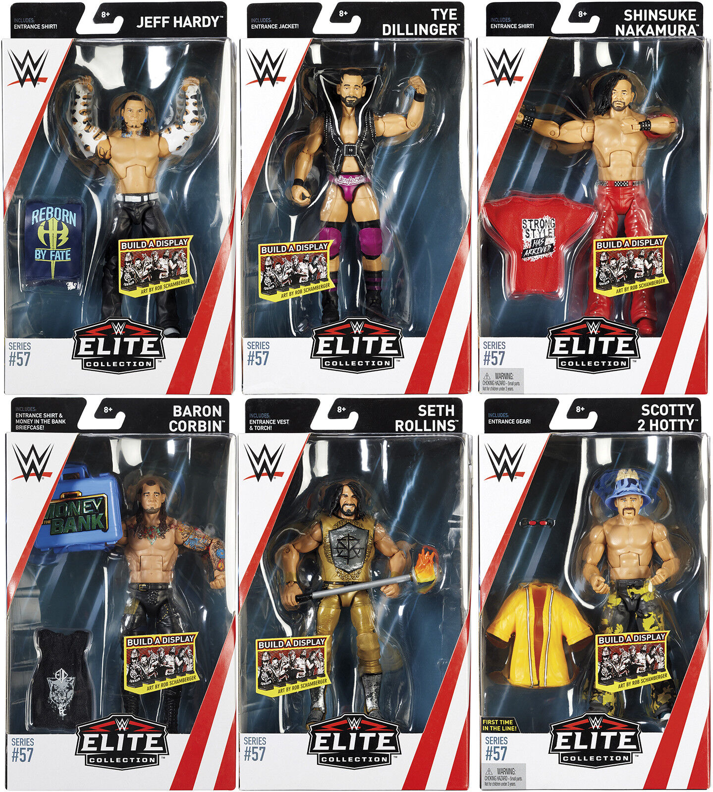 WWE MATTEL SERIES 57 ACTION WRESTLING FIGURE COMPLETE SET OF 6 NEW ACCESSORIES