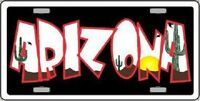 Arizona Black Metal Novelty License Plate