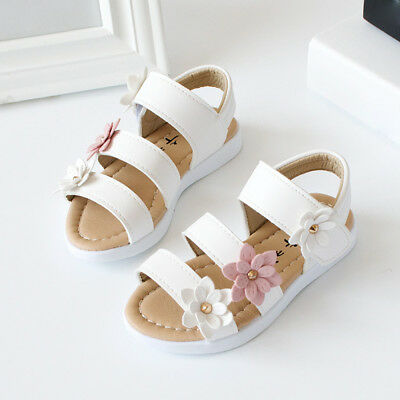 Summer Fashion Kids Child Sandals Anti-slip Big Floral Girl Pricness Flat Shoes
