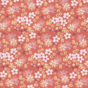 Sweetheart Tiny Floral 100/% Cotton Floral Fabric Orange Zinnia
