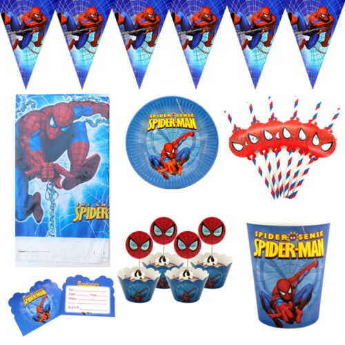 Details about  /74pcs For 12 Kids Child Spiderman Theme Flag Banner Tableware Set Party Supply