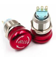 1pcs19mm 22mm 2no 2nc Push Lock Turn Reset Metal Emergency Stop Button Switch Ce