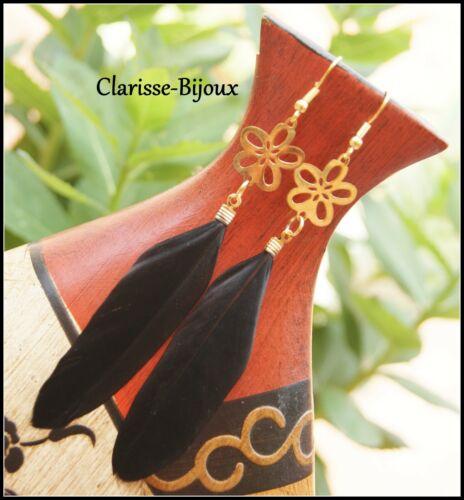Boucles d/'oreilles fleur laiton doré et plume noire 18x110mm
