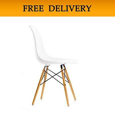 WHITE Plastic DSW Lounge Dining Chair Retro Panton charles Designer Eiffel New