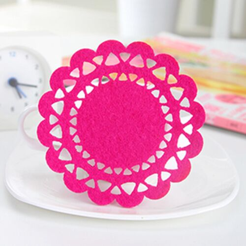 Parties, cup cushion, pads 2 pieces of Nice Pattern Felt Coasters Dia.10cm