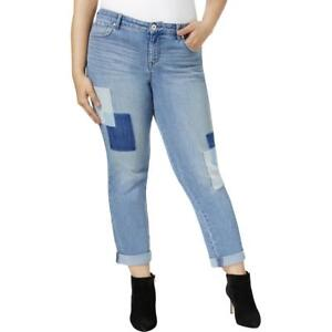 Style-amp-Co-Womens-Patchwork-Curvy-Fit-Light-Wash-Boyfriend-Jeans-Plus-BHFO-4955