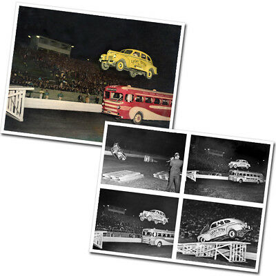 Photos set of 2 1940 Plymouth Lucky Teter Thrill Show Jump Baltimore in 1942