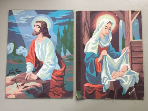 2 Vintage Paint by Number Mary & Baby Jesus Nativity Religious Christian