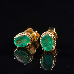 Image Is Loading Natural Oval Green Emerald Earrings Basket Stud Solid